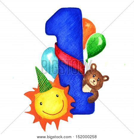 Greeting card with a big blue number one for birthday baby boy. Next to the figure toys, sun and balloons congratulating baby. Children illustration isolated hand painted watercolor on white background.