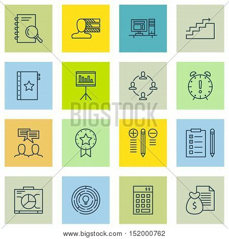 Set Of Project Management Icons On Time Management, Warranty, Growth And Other Topics. Editable Vect