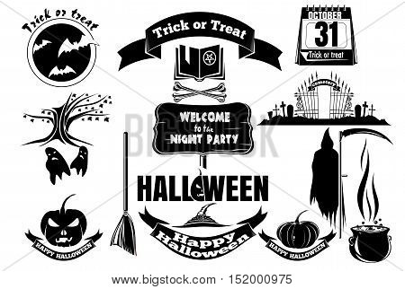 Set Halloween icons. Black and white vector icons on white background