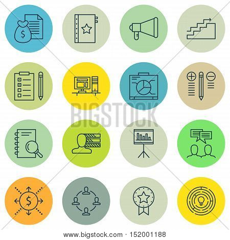 Set Of Project Management Icons On Warranty, Computer, Decision Making And Other Topics. Editable Ve