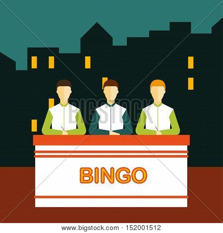 Lottery Vector illustration Three people in the studio are playing a lottery game Flat design