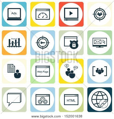 Set Of Marketing Icons On Security, Newsletter, Conference And Other Topics. Editable Vector Illustr