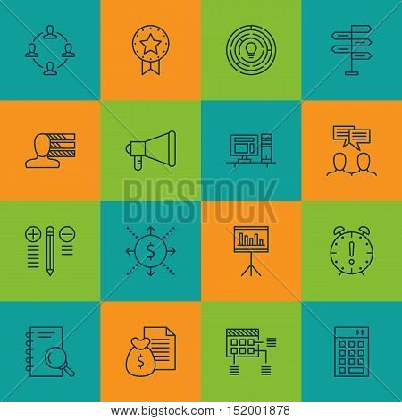Set Of Project Management Icons On Time Management, Announcement, Computer And Other Topics. Editabl