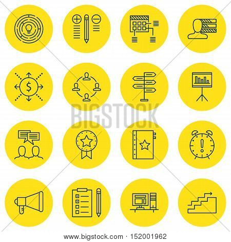 Set Of Project Management Icons On Presentation, Discussion, Innovation And Other Topics. Editable V