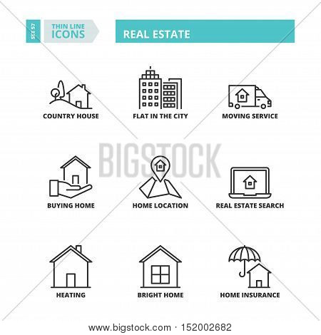 Thin Line Icons. Real Estate