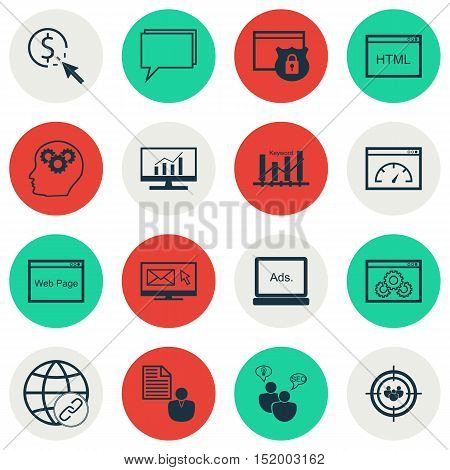 Set Of Advertising Icons On Seo Brainstorm, Loading Speed, Brain Process And Other Topics. Editable