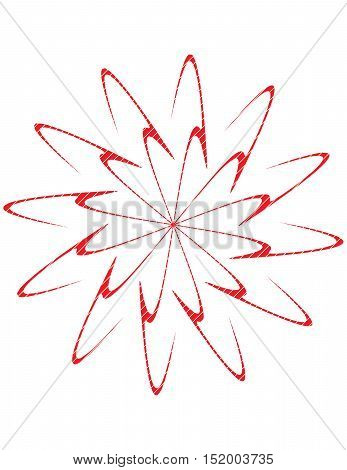 Double spiral burst design in red on white background.