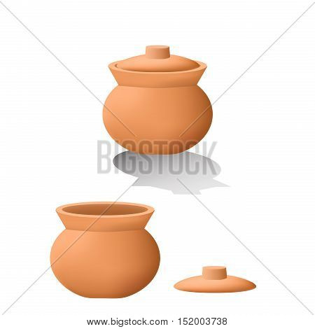 Traditional asian clay pot in 3D. mesh vector design