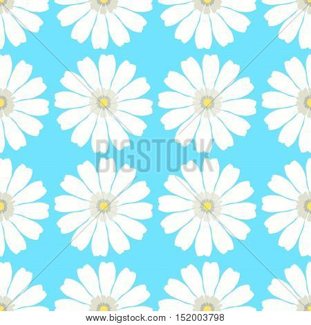 Seamless Pattern Evenly With A Camomile On A Blue Background. Vector Illustration