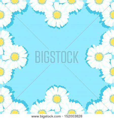 Seamless Pattern Frame With Daisies On Light Blue. Vector Illustration