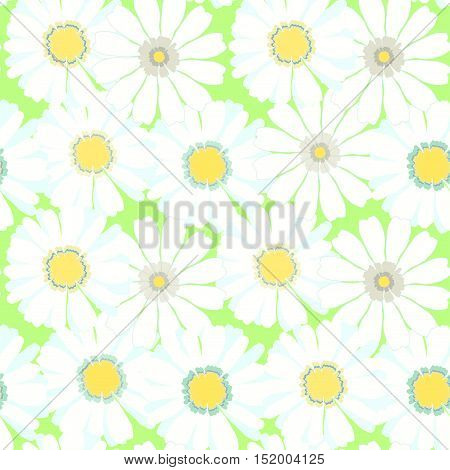 Seamless Pattern With Different Camomiles On A Green Background. Vector Illustration
