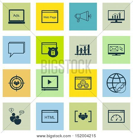 Set Of Advertising Icons On Security, Loading Speed, Digital Media And Other Topics. Editable Vector