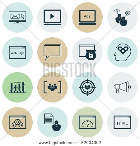 Set Of Advertising Icons On Security, Video Player, Keyword Optimisation And Other Topics. Editable