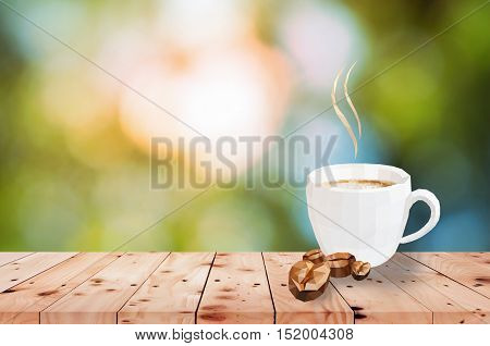 morning coffee white cup on wood table polygons style