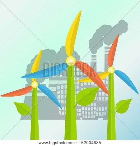 Green energy concept with windmills stylized as a flowers and polluted city on a background. Flat syle vector illustration