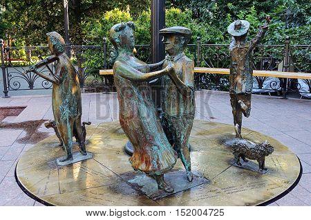 Odessa, Ukraine - September 01, 2016: Sculpture of dancing people in City Garden of Odessa