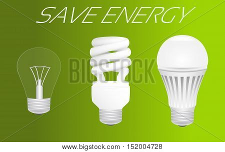 Save energy concept. Evolution from incandescent lamp through fluorescent lamp to led lamp usage. Vector illustration