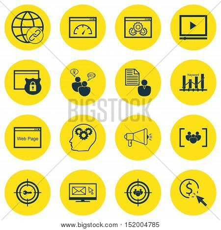 Set Of Advertising Icons On Keyword Marketing, Loading Speed, Connectivity And Other Topics. Editabl