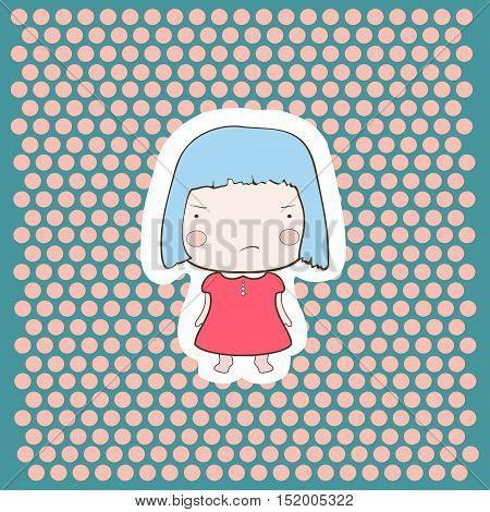 Cute Angry Gloomy Candy Blue Hair Cartoon Baby Girl