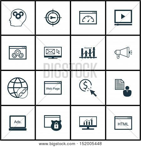 Set Of Seo Icons On Ppc, Keyword Marketing, Security And Other Topics. Editable Vector Illustration.