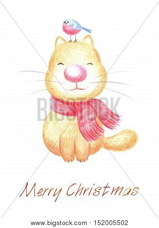 Hand-drawn Christmas greeting with funny little creatures. watercolor pencils
