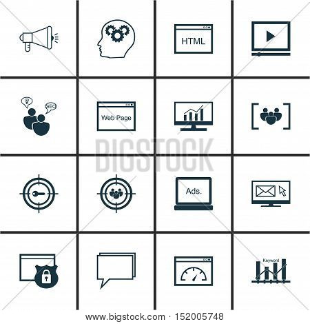 Set Of 16 Universal Editable Icons For Advertising, Seo And Marketing Topics. Includes Icons Such As