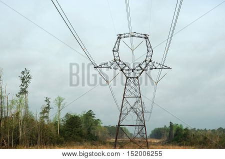 high voltage power tower in countryside for design