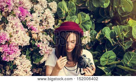 Girl Camera Photographer Focus Shooting Nature Concept