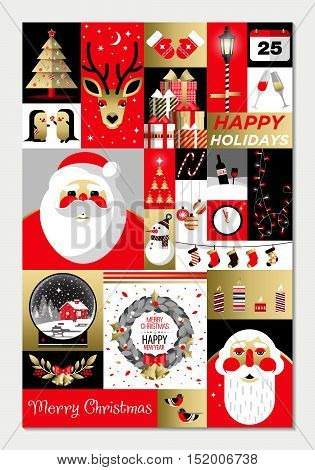 Set of flat Christmas icons. Christmas and Happy New Year greeting card templates. Happy holidays. Christmas card poster banner frame. Flat vector illustration