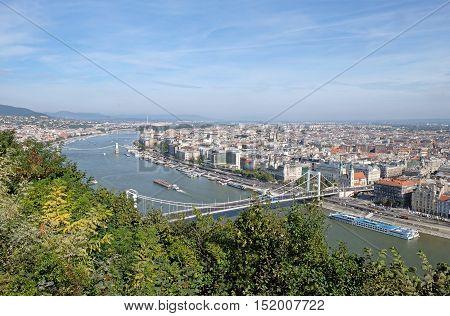 View from Gellert Hill of Elisabeth Bridge across the River Danube in Budapest