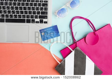 Online Shopping Credit Card Shopaholic Spending Payment Concept