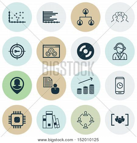 Set Of 16 Universal Editable Icons For Human Resources, Marketing And Seo Topics. Includes Icons Suc