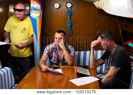 MILOS, GREECE - SEP 25, 2016: Skipper briefing during sailing regatta 16th Ellada Autumn 2016 among Greek island group in the Aegean Sea, in Cyclades and Saronic Gulf.