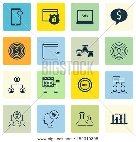 Set Of 16 Universal Editable Icons For Education, Advertising And Human Resources Topics. Includes I