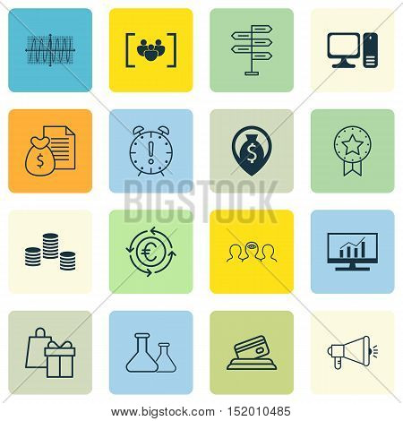 Set Of 16 Universal Editable Icons For Advertising, Human Resources And Business Management Topics.