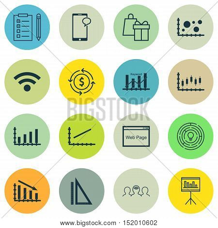 Set Of 16 Universal Editable Icons For Human Resources, Statistics And Computer Hardware Topics. Inc