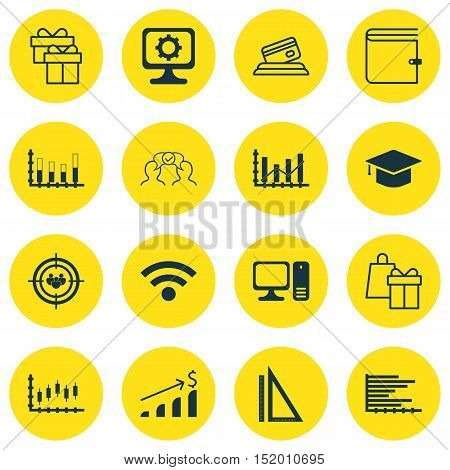 Set Of 16 Universal Editable Icons For Airport, Education And Computer Hardware Topics. Includes Ico