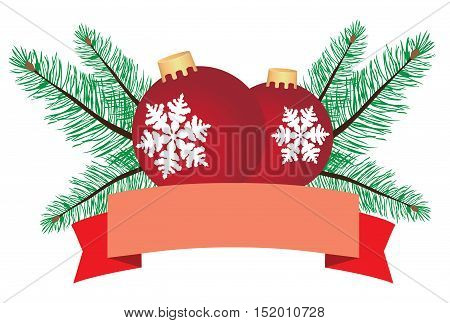 vector illustration of Christmas card with poinsettia flower fir tree branches banner