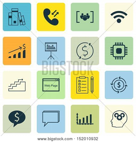 Set Of 16 Universal Editable Icons For Education, Travel And Seo Topics. Includes Icons Such As Mone
