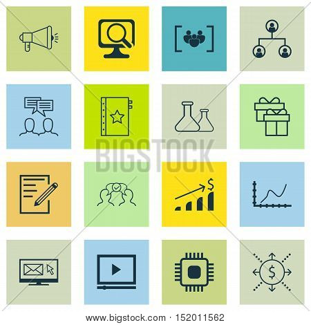 Set Of 16 Universal Editable Icons For Project Management, Education And Business Management Topics.