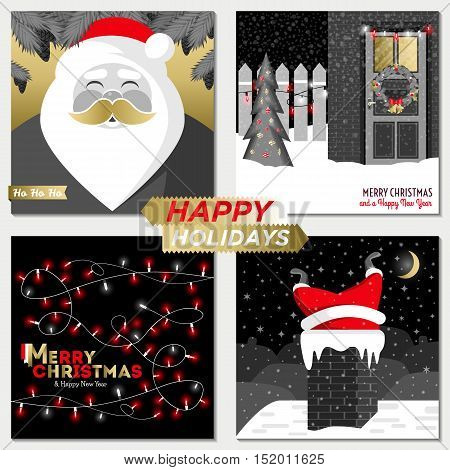 Merry Christmas and Happy New Year greeting card templates. Happy holidays. Christmas card poster banner frame. Flat vector illustration