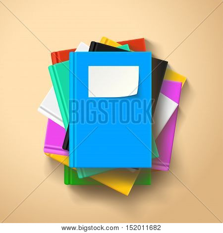 illustration of lying books in a stack with shadows on bright background
