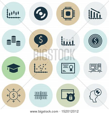 Set Of 16 Universal Editable Icons For Project Management, Computer Hardware And Statistics Topics.