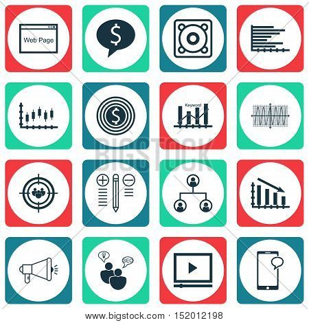 Set Of 16 Universal Editable Icons For Seo, Project Management And Human Resources Topics. Includes