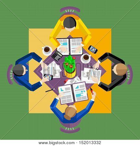Teamwork people partnership and teamwork business community concept. Cartoon teamwork people characters. Social network of teamwork people. Social media and social network people connect. Teamwork people together vector. Business team and teamwork concept