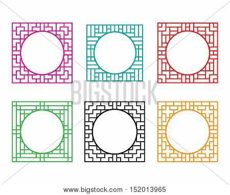 Square window frame with circle hole at center vector
