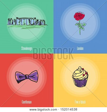 British cultural, political, fashion, historical symbols. Stonehenge, rose flower, sweet cake, bow tie doodle vector icons with caption on colored backgrounds. England vector symbols. Travel to England icons. Discover London or England.