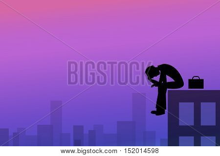 Depression background in silhouette style vector design