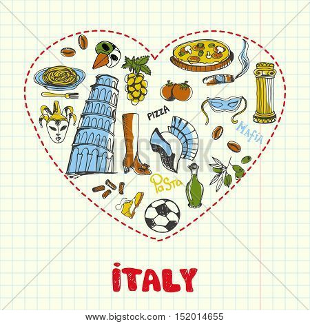Love Italy. Dotted heart filled with colored doodles associated with italian nation drawn on squared paper vector. Memories about Europe journey. Sketched with pen food, architecture, sport icons
