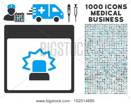 Blue And Gray Alert Calendar Page vector icon with 1000 medical business pictograms. Set style is flat bicolor symbols, blue and gray colors, white background.